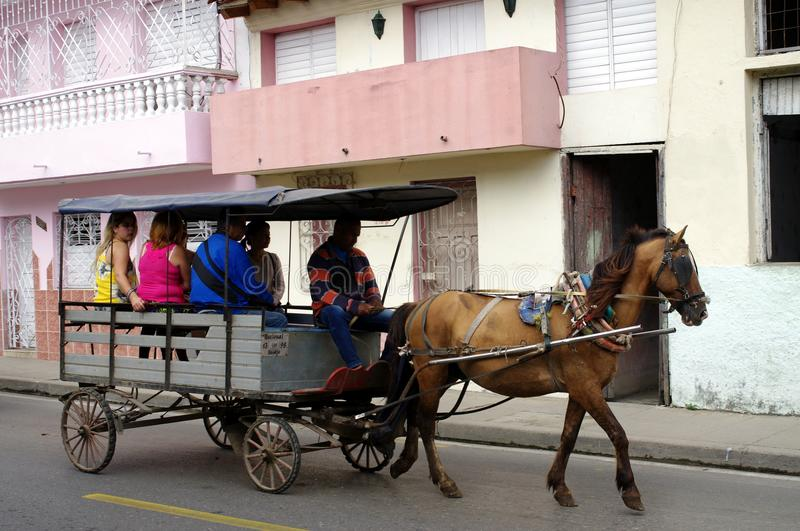 Horse drawn transport in Cuba royalty free stock photography