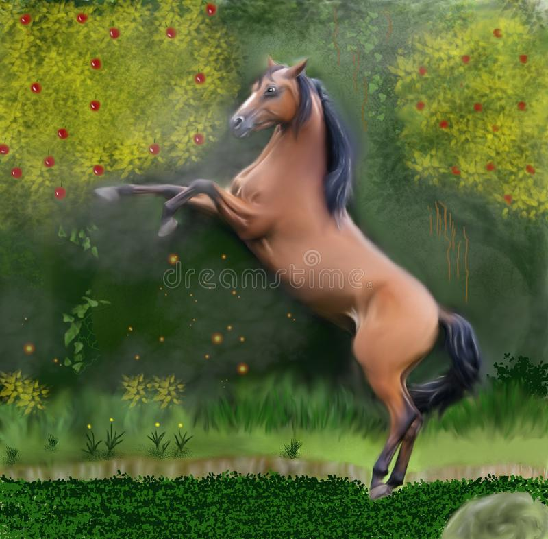 The Horse and the Enchanted Forest Medium color. A beautiful brown horse plowing in a magical forest full of life. At the same time an air of mystery hangs in vector illustration
