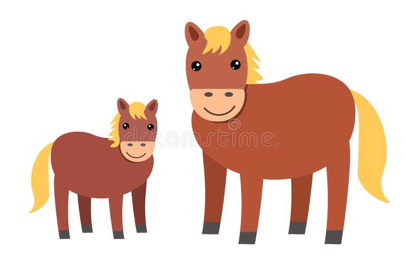 Farm animals. horses for children, ponies, cartoon style. Two horse mother  and baby foal. on the farm, a picture for the   CanStock