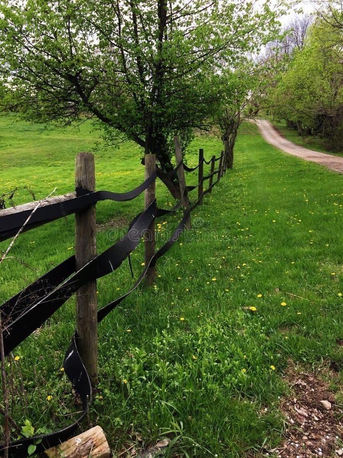 Horse farm fence in Ohio stock photos