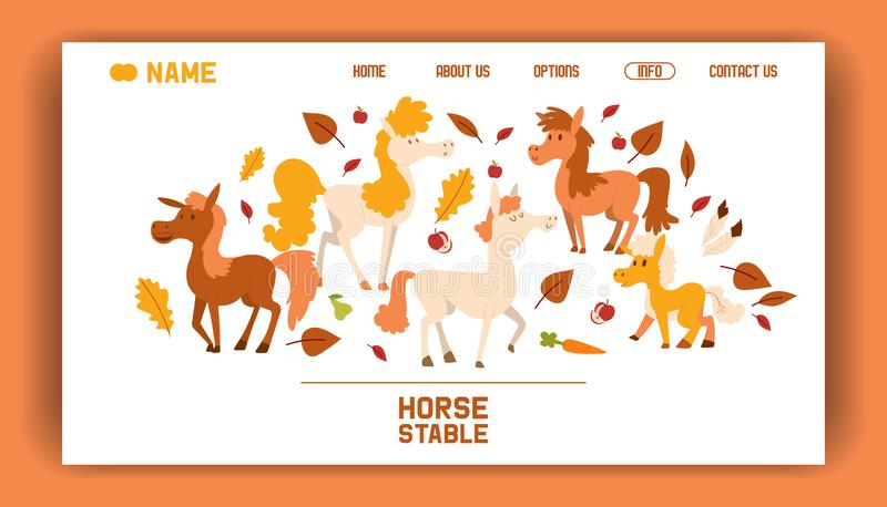 Horse farm stable vector flat cartoon illustration landing page. Purebred beautiful animal thoroughbred banner. Brown stock illustration