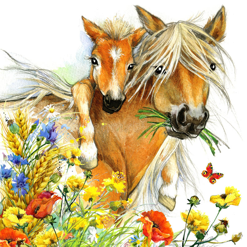 Horse and foal motherhood. background greetings illustration stock illustration