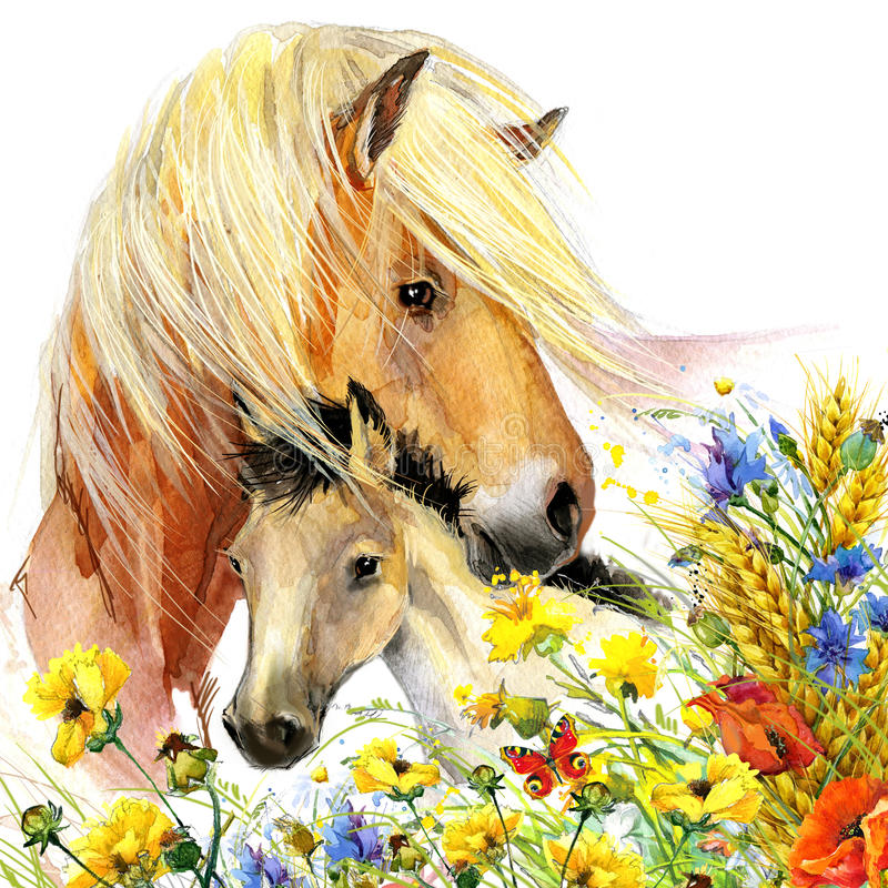 Horse and foal motherhood. background greetings illustration stock illustration