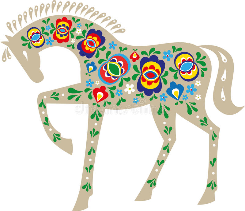 Horse with folk design. Horse with design inspired by the Moravian folk ornaments stock illustration