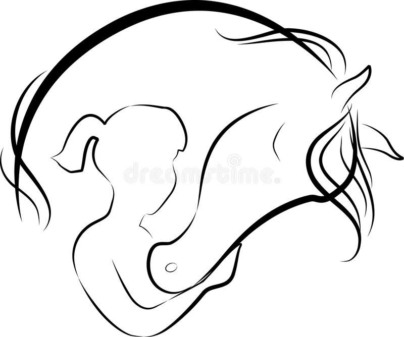 Horse and girl vector illustration