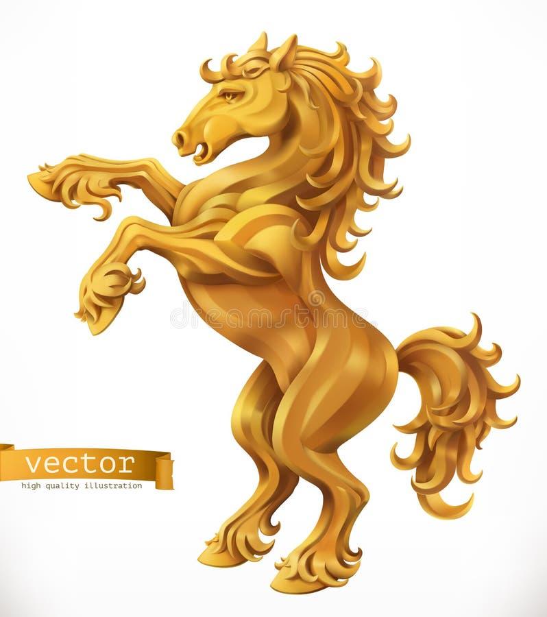 Horse, gold emblem. 3d vector icon royalty free illustration