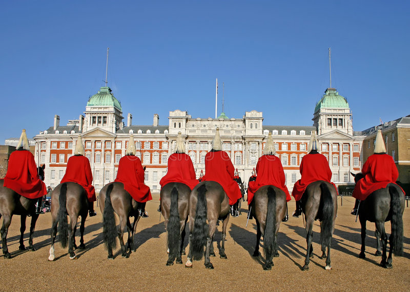 Horse guards in London stock photo