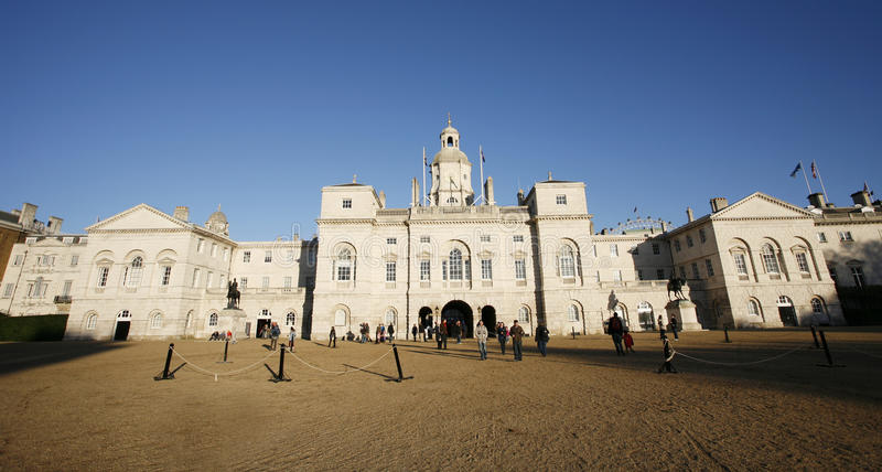 Horse Guards Parade and Household Cavalry Museum. London, UK - November 2, 2012: Horse Guards Parade, large parade ground, site of annual ceremonies of Trooping stock images