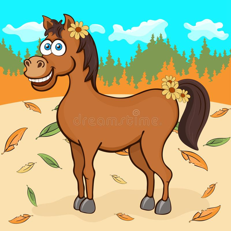 Horse hand drawing, cartoon character, vector illustration, caricature, card. Colorful painted cute funny equine stock illustration