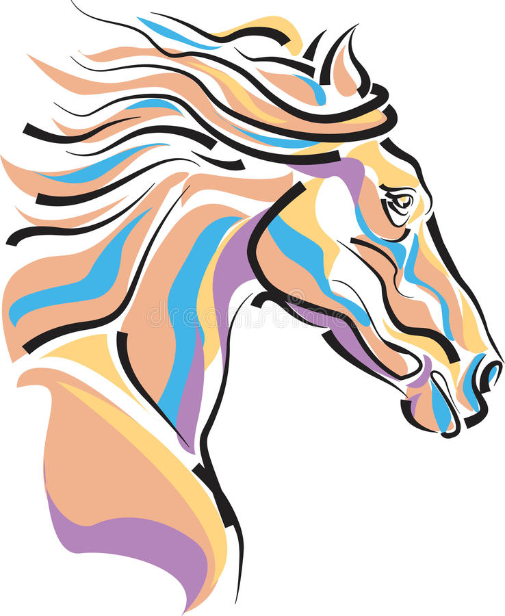 Horse head. Brush stroke drawing image