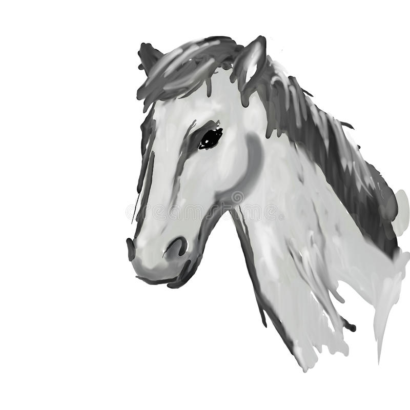 Download Horse head stock image. Image of grey, stroke, painting - 26853471
