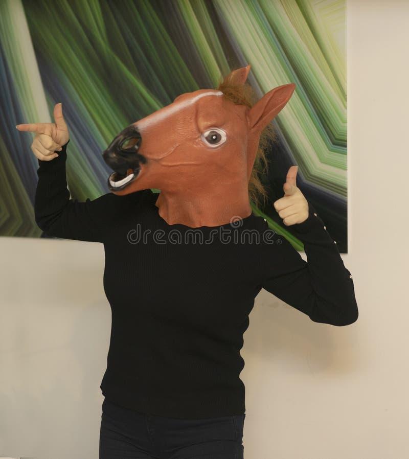 Horse Head Business Girl Horse Head Mask Portraiture royalty-vrije stock afbeeldingen