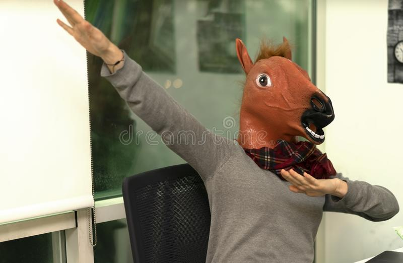 Horse Head Business Girl Horse Head Mask Portraiture stock afbeelding