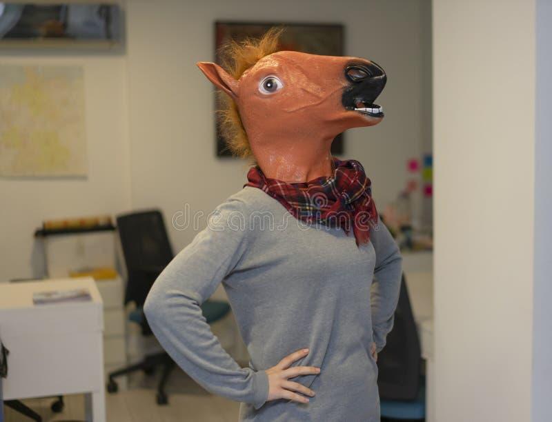 Horse Head Business Girl Horse Head Mask Portraiture royalty-vrije stock afbeelding