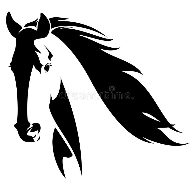 Horse head. With flying mane black and white vector design