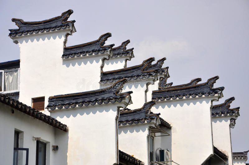 Horse Head Gables in Nanjing. Huizhou Architecture Horse Head Gables in Nanjing, Jiangsu Province, China. Horse Head Gables intended to prevent fire jumping from stock photo