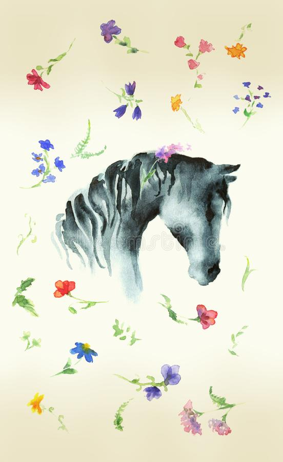 Horse head silhouette hand drawing watercolor with wild flowers on aged paper. royalty free illustration