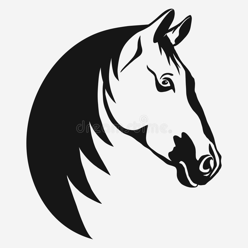 Horse head vector. Horse head profile design on a white background, graphic logo template. Horse head silhouette outline for stable, farm, race emblem. vector stock illustration