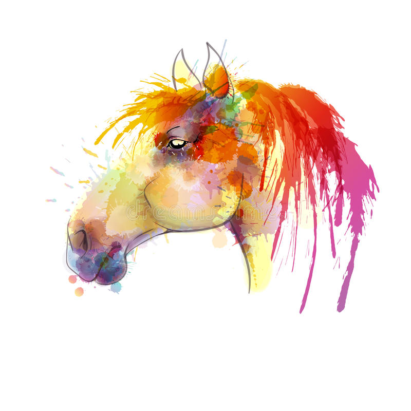 Horse head watercolor painting vector illustration