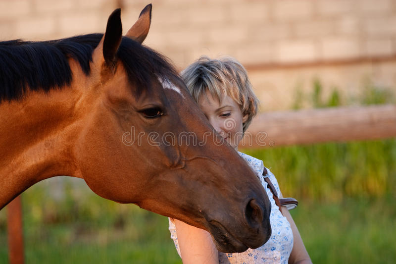 Horse head on womans shoulder. Big Horses head on womans shoulder royalty free stock photo