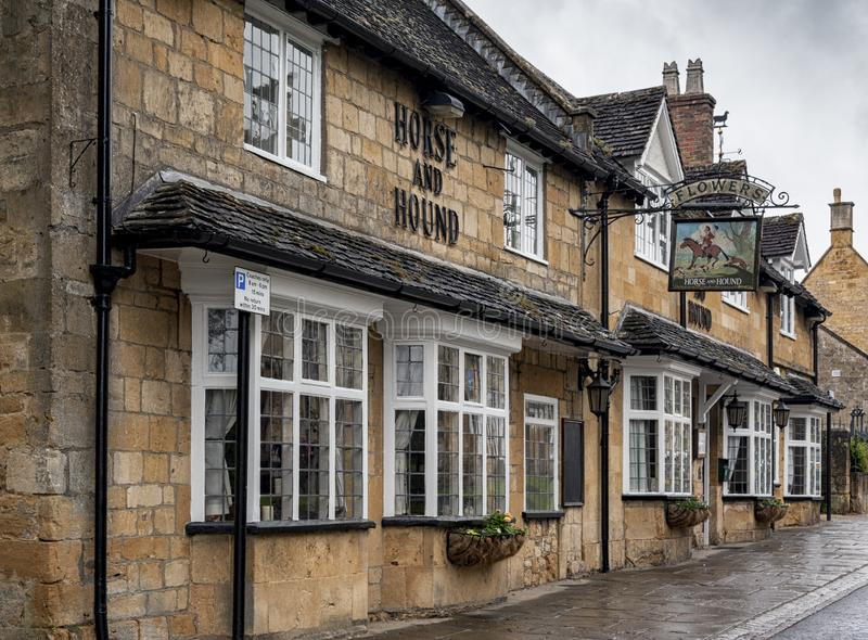 The Horse & Hound public house is a traditional country inn dating from 17th century  on Broadway High Street, Broadway - Cotswold royalty free stock photo