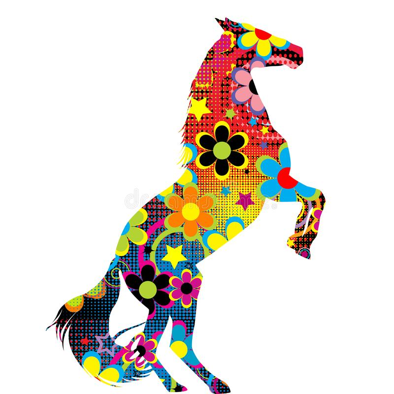 Horse on its hind legs with a colored floral pattern stock illustration