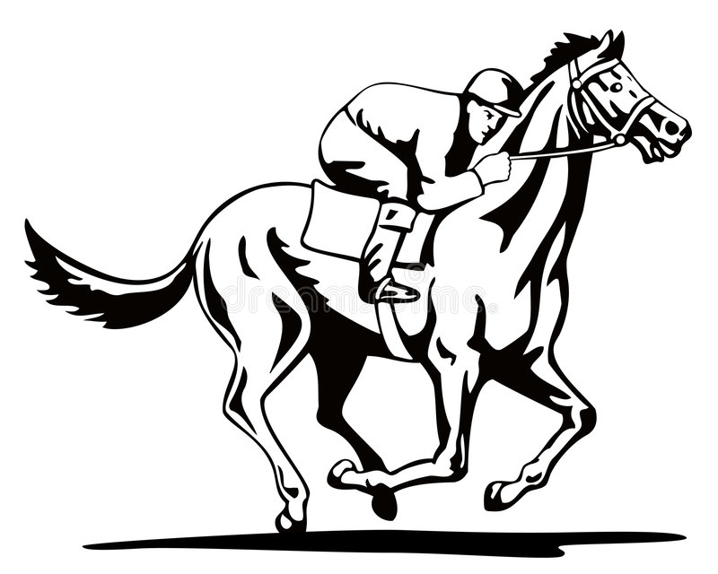 Horse And Jockey On A Winning Stock Vector Illustration