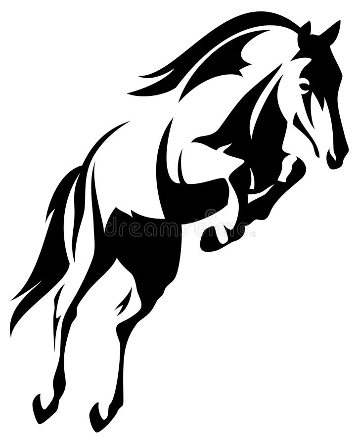 Horse jump vector. Beautiful jumping horse black and white outline