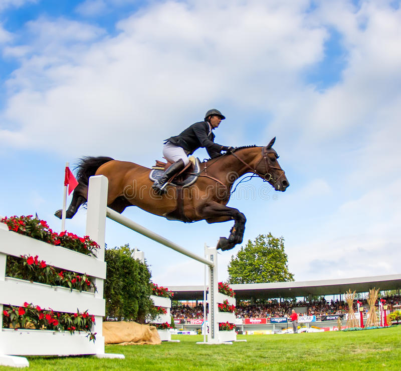 Horse jumping competition. GIJON, SPAIN Aug 2014: Participants in the International Jumping Competition CSIO 5 Gijon 2014 Spain, from July 31 to August 4 stock images