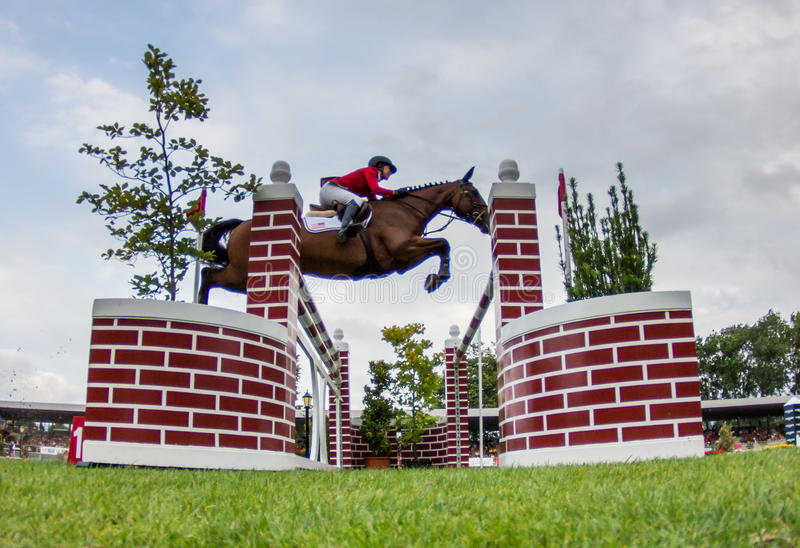 Horse jumping competition. GIJON, SPAIN Aug 2014: Participants in the International Jumping Competition CSIO 5 Gijon 2014 Spain, from July 31 to August 4 royalty free stock image