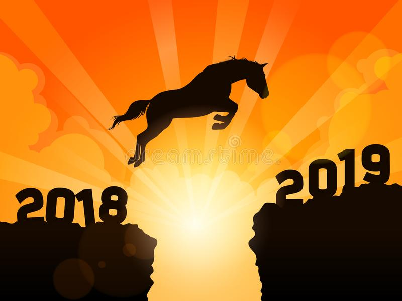 Horse jumping into next year 2019 royalty free illustration