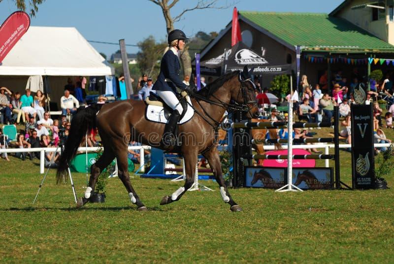 Horse jumping winner Jade Hooke royalty free stock photo