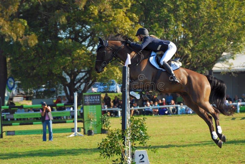 Horse jumping winner Jade Hooke stock photos