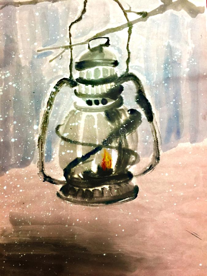 Horse lantern in winter. A warm lantern in winter nigh,The warm horse lamp in winter night is hung on the dry branch stock illustration