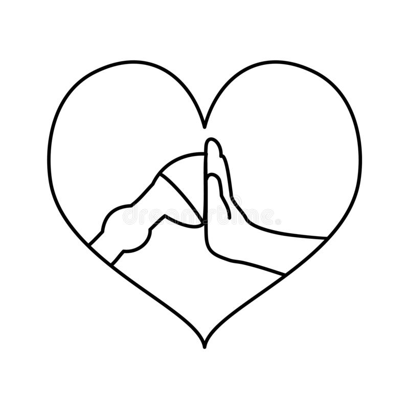 Hoof and hand high five line art in heart frame. A horse leg and a hand giving high five each other, animal loving concept royalty free illustration