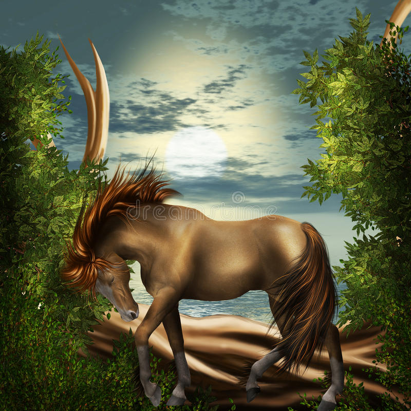 Horse in magic forrest vector illustration