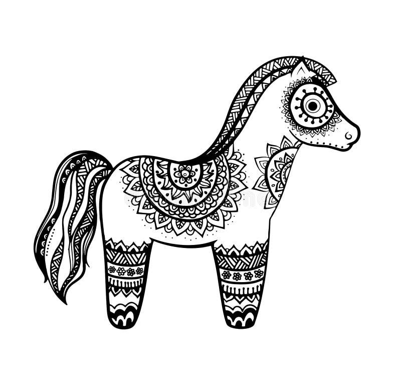 Horse mandala adult anti stress Coloring Page. Cute horse mandala for adult anti stress coloring page, animal design decoration element, isolated on white stock illustration
