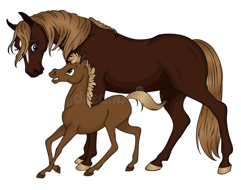 Horse mom and baby stock illustration