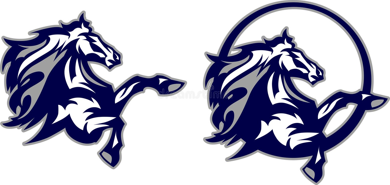 Horse / Mustang / Bronco Mascot Logo stock illustration