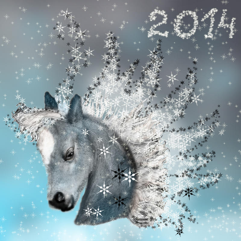 Free Horse On Christmas Card. Royalty Free Stock Photo - 32613785