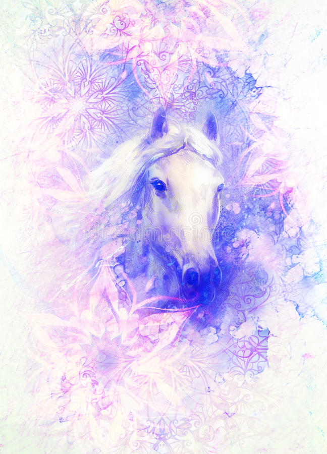 Horse painting and ornamental structure. Marble effect. Horse painting and ornamental structure. Marble effect vector illustration
