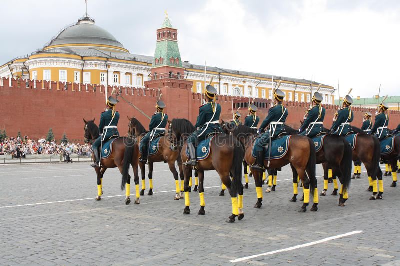Horse parade on Red Square. Riders of cavalry honorary escort of Presidential Regiment at Military Music Festival in Moscow, Russia stock images