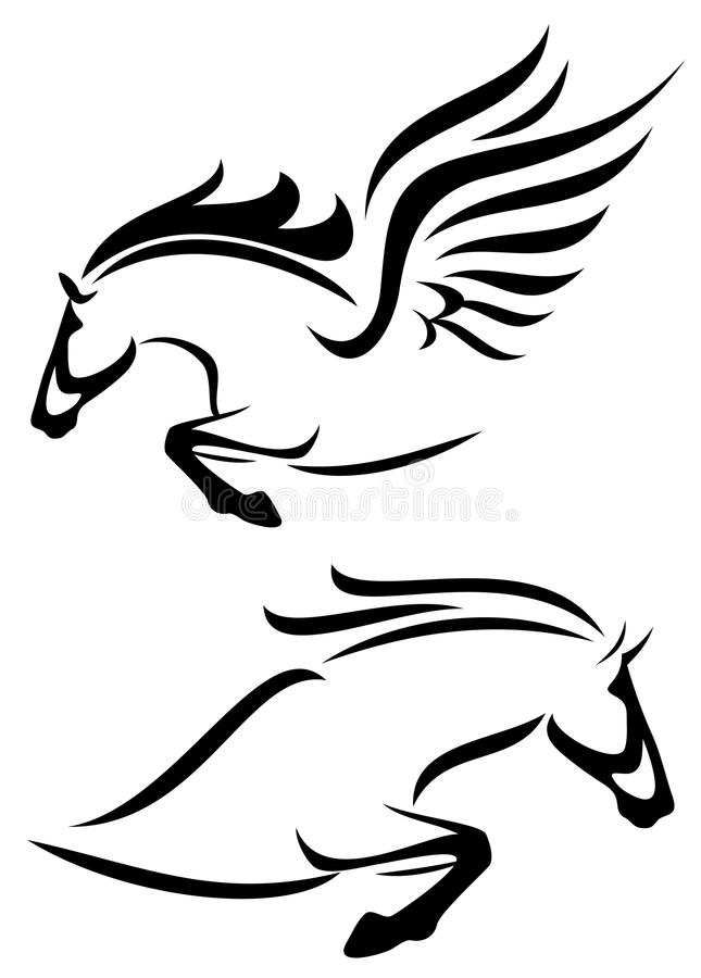 Horse and pegasus vector illustration
