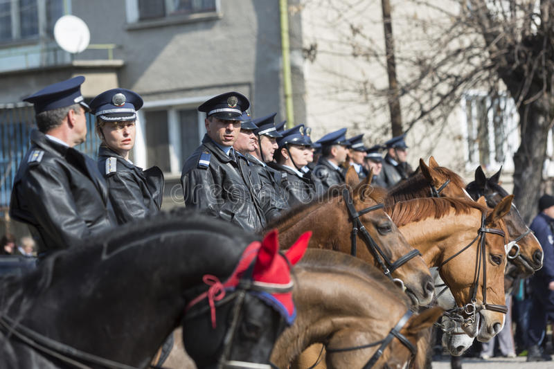 Horse police at parade stock photography
