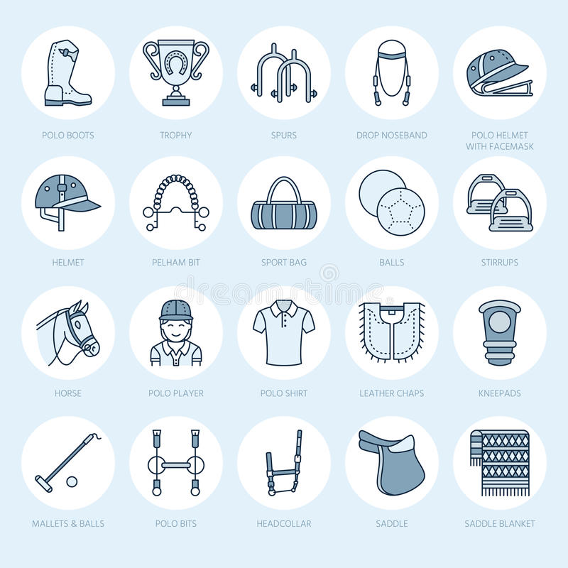 Horse polo flat line icons. Vector illustration of horses sport game, equestrian equipment - saddle, leather boots. Harness, spurs. Linear signs set stock illustration