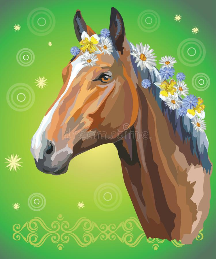 Horse portrait with flowers5 vector illustration