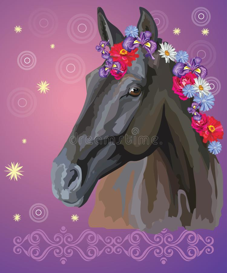 Horse portrait with flowers6 royalty free illustration