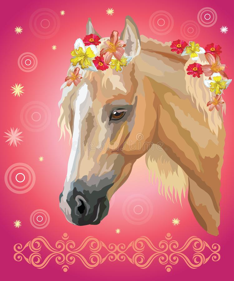 Horse portrait with flowers9 vector illustration