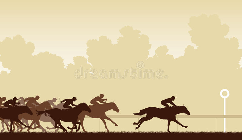 Horse race. Editable vector illustration of a horse race with one horse and jockey about to win