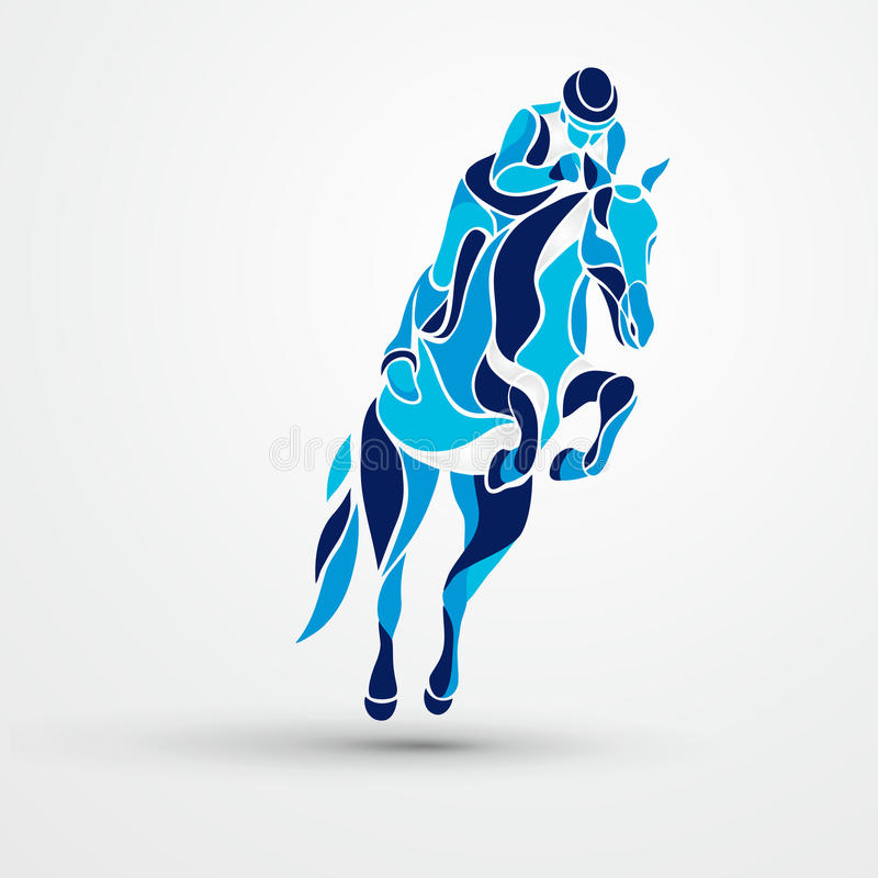 Horse race. Equestrian sport. Blue silhouette of racing with jockey. Horse race. Equestrian sport. Silhouette of racing horse with jockey on isolated background royalty free illustration